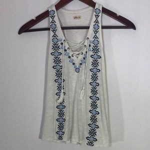 Hollister Boho Lace Up White Tank Top XS Aztec